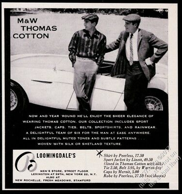 1955 Austin Healey 100 car photo Thomas Cotton men's shirt vintage print ad