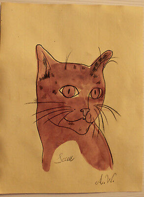Pencil drawing watercolor signed ANDY WARHOL