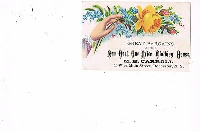 VICTORIAN ADVERTISING / TRADE Card   M. H. CARROLL CLOTHING HOUSE - ROCHESTER NY