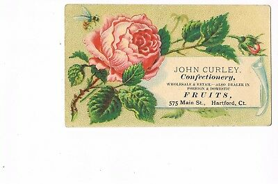 VICTORIAN ADVERTISING / TRADE Card   JOHN CURLEY CONFECTIONERY - HARTFORD, CT