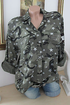 Shirt Blouse Camouflage Army Military Style Studs Star Print 36 38 40