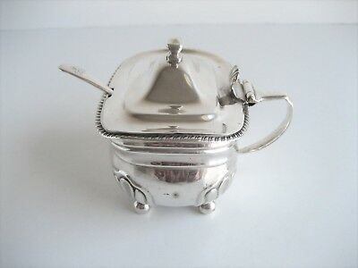 Heavy Large George III Solid Silver Sauce or Mustard Pot + Spoon London 1814