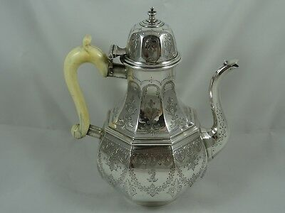 SUPERB, GEORGE I style, VICTORIAN silver COFFEE POT, 1875, 903gm