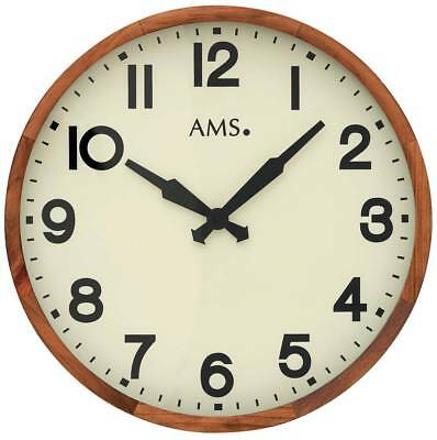 AMS 9535 - Wall Clock - Beech - Retro Clock - Quiet Clock - Hotel Clock - New