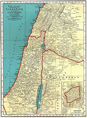 1940 Antique PALESTINE Map Jerusalem Map Vintage Gallery Wall Art Map 4615
