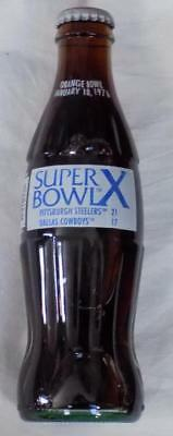 Coca Cola 1976 Super Bowl X Soda Bottle PITTSBURGH vs DALLAS NFL Orange Bowl
