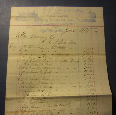 1891 LOVE'S Livery Feed & STABLE - ANGELS CAMP CA. - BILLHEAD Document Statement