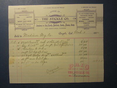 Old 1897 STICKLE CO. Dry Goods - ANGELS CA. BILLHEAD Document - MADISON MINING