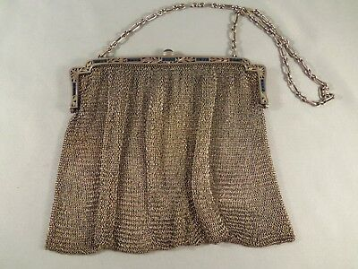 Antique Sterling Silver  & Synthetic Sapphires Mesh Purse