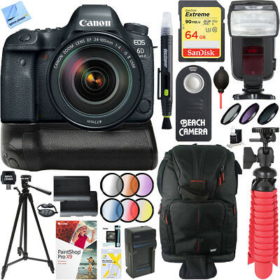Canon EOS 6D Mark II DSLR Camera 24-105mm IS II USM Lens Canon Battery Grip Kit