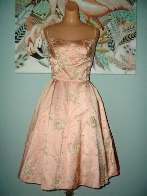 VTG 50s PINK SATIN RHINESTONES SEQUINS 3-D PEARL FLOWERS PARTY COCKTAIL DRESS S