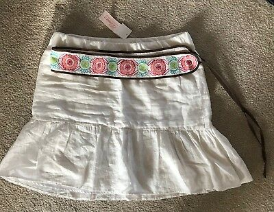 Motherhood Maternity White Belted Skirt NWT Size Medium Linen NEW!