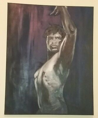 Super Large Oil on Canvas of a Negro Male Stunning Oil Painting of Black Man