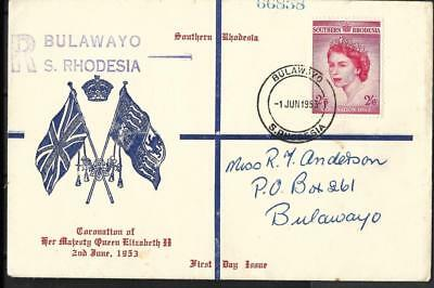 S.rhodesia, 1953 Qe11 Coronation Fdc, On Illustrated Fdc, Dated 01.06.53
