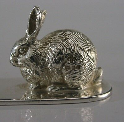 Superb English Solid Sterling Silver Bunny Rabbit Letter Opener London 1990