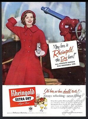 1958 Miss Rheingold Beer fire boat nozzle photo vintage print ad