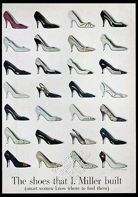 1961 I. Miller women's shoes heels 28 styles color photo vintage print ad