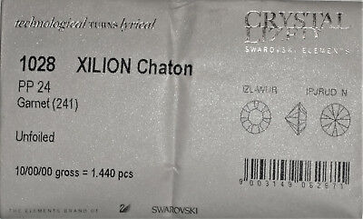 Factory Pack Swarovski Table Crystals Pointed Back Unfoiled 1028 PP24 Garnet