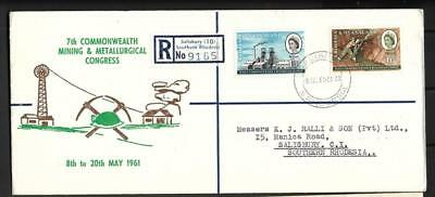 Rhodesia & Nyasaland, Qe11 1961 Minning Issue On Illustrated  Fdc Cover.