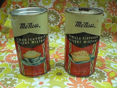 2 McNess VINTAGE DESSERT MIXTURE TIN COLLECTABLE Vanilla & Lemon Grocery Cans