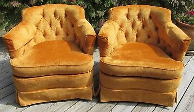 Vintage Mid Century Arm Chairs WoodMark Upholstered Matching Pair M2