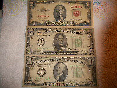 USA - 1934 $5 Note - 1934 A $10 Note - 1953 Red Star $2 Note - Circulated