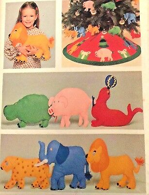 CHRISTMAS TREE SKIRT ORNAMENTS & PILLOW TOY DOLLS Pattern 5674 LION HIPPO SEAL