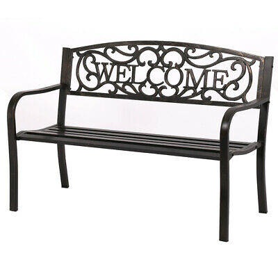 "50"" Patio Garden Bench Park Yard Outdoor Furniture Steel Frame Porch Chair W23"