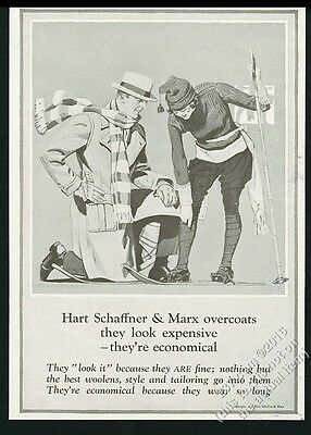 1923 woman on skis handsome man art Hart Schaffner & Marx vintage print ad