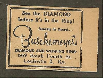 Louisville Times May 20, 1959 Ad For Buschemeyer's Diamond & Wedding Rings