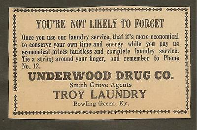 Vintage Ad Clipped From Newspaper - Underwood Drugs & Troy Laundry -1939