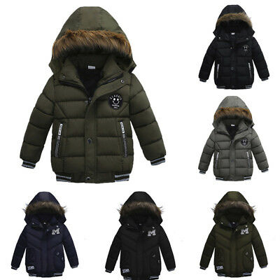 Fashion Kids Overcoat Boys Girls Thick Coat Padded Winter Hooded Jacket Clothes