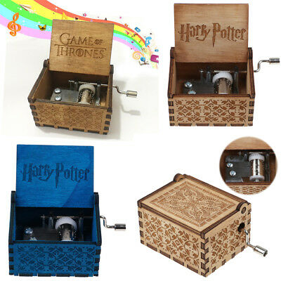 Harry Potter Game of Thrones Incise In Legno Music Box Fatto a Mano Regalo