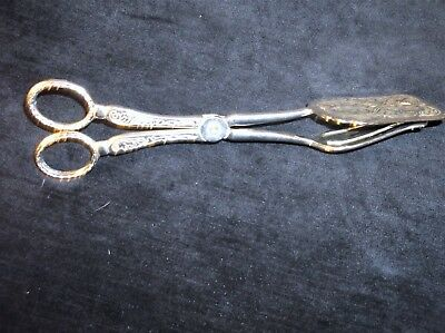 Vintage Silver Plated Scissor Tongs Sandwiches Cake Elegant Design Chased Design