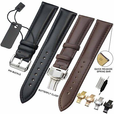 ZLIMSN Top Quality Genuine Cowhide Leather Watch Band Strap 18 - 24mm New Smooth