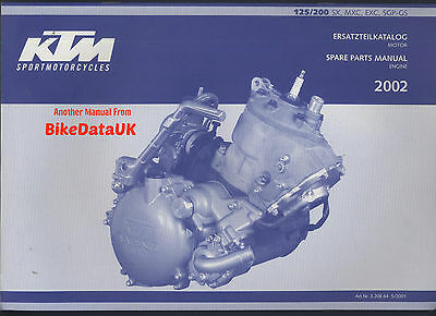 Genuine KTM 125 200 SX MXC EXC SGP GS ENGINE (2002) Parts List Catalog Book AD37