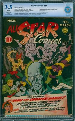 All-Star Comics # 15  The Man who Created Images !  CBCS 3.5 scarce book !