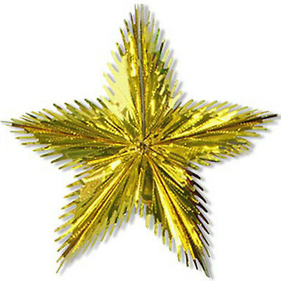"24"" Christmas Party Gold Foil Shimmer Leaf Starburst Hanging Decoration"