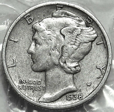 1938-D Mercury Silver Dime. Smart  Very Fine Coin. Bold Date & Mint Mark. #377