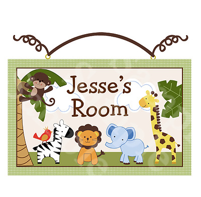Personalized Jungle Buddies Canvas on Wood Door Sign/Plaque Baby/Kids