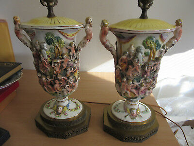 Pair Antique Capodimonte Italian male Nude Figural fancy porcelain lamps