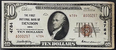1929 $10.00 Nat'l Currency, Type 2, The First National Bank of Denison, Iowa!