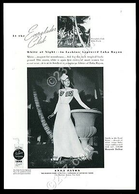 1939 Everglades Club Palm Beach Florida photo Enka Rayon dress vintage print ad