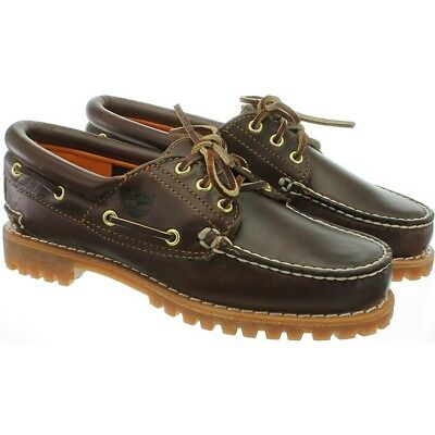 TIMBERLAND HERITAGE 3 eye brown Women's Fashion Boat shoes Deck Leather NEW