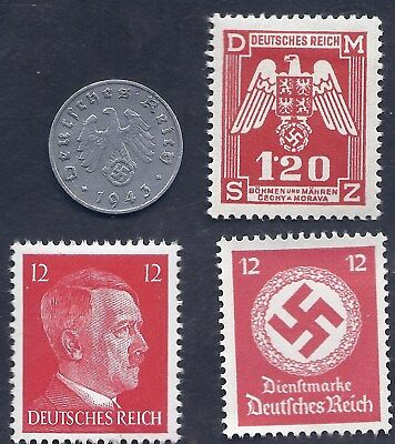Nazi Germany 3rd Reich 1943 A 1 Rpf Swastika Coin & Hitler stamp lot WW2 ERA #s1