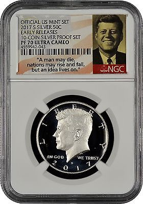 2017 S Silver 50c From 10-Coin Silver Set Early Releases NGC PF70 U.C. (S.S.)