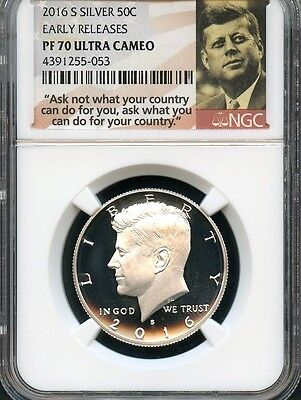 2016 S Silver Kennedy Half Dollar Early Releases NGC PF70 Ultra Cameo (Portrait)