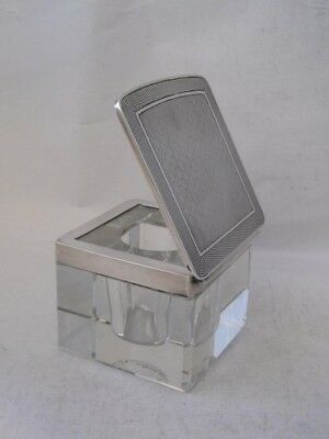 Quality Art Deco Sterling Silver & Cut Glass Inkwell 1930/ L 5.5 cm
