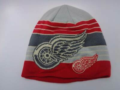 5adb3d69430 Detroit Red Wings Reebok NHL Knit Striped Red Grey Blue Hat Cap Toque Beanie  OSF