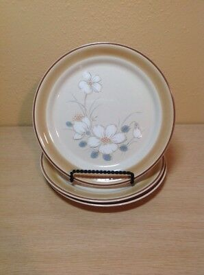 """Set Of 3 Water Color Hearthside Dawn Stoneware 7-3/4"""" Salad Plates Made In Japan"""
